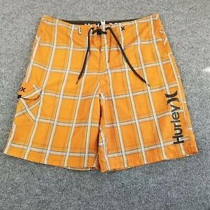 "Hurley Swim BoardShorts Size 36 10"" Ins Orange Plaid Drawstring Pocket Mens"