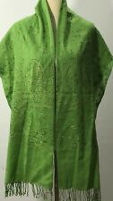 New Womens 100% Cashmere Scarf Shawl Green Embroidery Sequins Made in Kashmir
