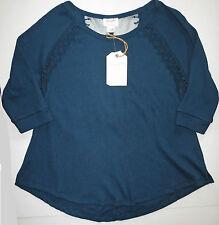 NWT Women's Wrangler Majolica Blue 3/4 Short Sleeve Lack Back Knit Top Large New