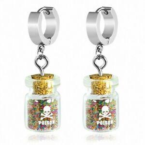 Earrings Huggie Drop Stainless Steel With Bottle/Pot Glass