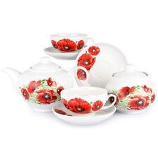 Russian Porcelain Tea set Dulevo Poppies 6 pers 14 pc Kuznetsov Porcelain
