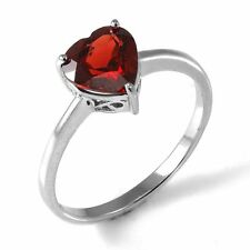 Genuine Deep Red Garnet Heart Ring Solid Sterling Silver Size 8 Gift