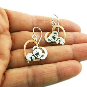 Koala Bear 925 Silver and Copper Heart Earrings Gift Boxed