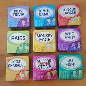 Bite Size Games for Kids - 9 Varieties - Travel Game in a Tin - Fun Family Games