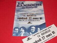 COLL.J. LE BOURHIS AFFICHE Spectacle / LA BAMBOCHE 1981 La Rochelle Rare! FOLK