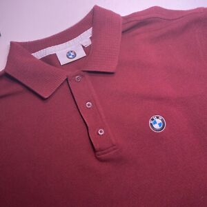 BMW Mens Short Sleeve Red Golf Polo Size XL Embroidered Logo