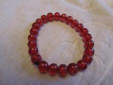 Translucent Red Plastic Bead Elasticated Bracelet