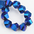 50pcs 6mm Twist Helix Crystal Glass Findings Loose Spacer Beads Metal Blue