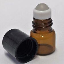 1 ml 1/4 Dram Amber Glass Mini Roll-on Roller Glass Bottles w/GLASS Balls 144