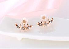 Accesorios Para Mujer y Niña Aretes de Diamantes Flores 2 Piezas Bañado en Oro
