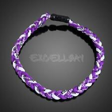 Titanium Ionic Sports Baseball Necklace 3-Rope Braided Necklace 4 Size E0Xc