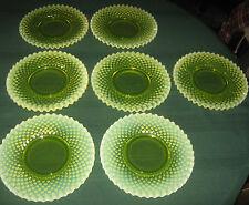 7 RARE FENTON VASELINE TOPAZ OPALESCENT HOBNAIL PEDESTAL STAND GLASS CAKE PLATES