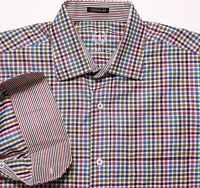 BUGATCHI UOMO Long Sleeve Flip Cuff Shirt Multi-Color Blue Pink Checks Medium M