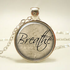 Breathe Necklace, Word Pendant, Inspirational Jewelry (1179S1IN)