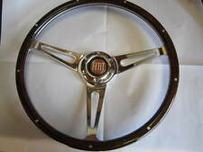 FIAT 124 SPIDER WOOD STEERING WHEEL, 380MM 1979-1985, RED FIAT HORN BUTTON, DARK
