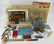LEATHER WORKING TOOLS AND PATTERN BOOK LOT 104 PC - EDGING STAMPS PUNCHES AWL