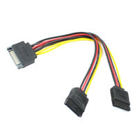 Drive Cable SATA 15-pin Y-Splitter Cable Adapter Split 1:2 for HDD Hard Drive
