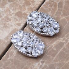 """10CTW MULTI AAA DAZZLING WHITE TOPAZ 1"""" PLATINUM/SILVER VINTAGE INSPIRED"""