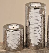 Ensemble de deux Porte-bougies couleur argentée métal Chandelier H 12 jusqu'à
