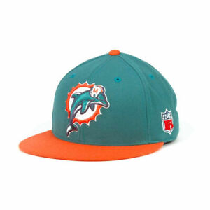 Miami Dolphins Mitchell and Ness NFL 2-Tone Fitted Flat Bill Brim Hat Cap size 7