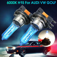 2X 55W H15 Xenon White Headlight Bulbs DRL HID For AUDI/BMW/Ford VW GOLF ^