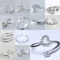 925 Soild Silver Zirconia Leaves Branch Open Adjustable Sterling Ring Jewelry