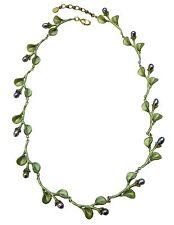 "African Violet Leaves 16"" Adj. Necklace By Michael Michaud #8925BZPK"