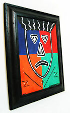 "Modern Framed 17 1/2"" Primitive Tribal Oil Painting - Signed Cindy Smith 2001"