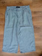 BNWT (£30) NEXT Light Blue Denim Wide Leg Lyocell/Linen Crop Trousers Size 8