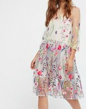 FREE PEOPLE Sheer Garden Embroidered Mini Dress ☮ Size XSMALL