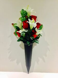 Red & Ivory Graveside Spike Vase Rose And Lily Flower Memorial Grave Crem Pot