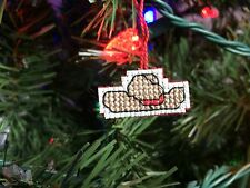 Handmade Cross Stitch Mini Christmas Ornament-Cowboy Hat-South-Decor-Completed