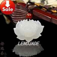 VTG Fine Carved Chinese Natural White Nephrite Hetian Jade Pendant Lotus Flower
