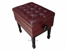 GENUINE LEATHER Mahogany Adjustable Piano Bench/Stool/Chair