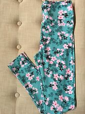 NWT LuLaRoe OS One Size Leggings Teal Blue Pink Cherry Blossoms Flowers Floral