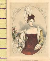 C1860 Vittoriano Stampa ~ Principessa Charlotte Di Galles