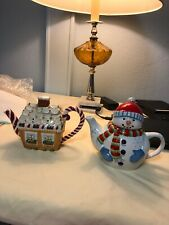 Mesa Home Products Snowman And Gingerbread Teapots