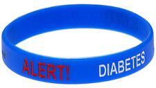 Diabetes Alert Blue Silicone Wristband - Medical Alert ID Bracelet by Mediband
