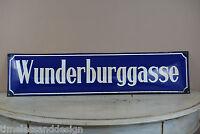 tolles Email Schild WUNDERBURGGASSE gewölbtes Emaileschild Straßenschild