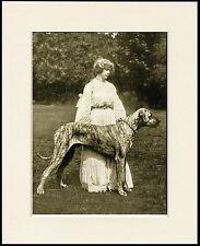 GREAT DANE AND EDWARDIAN LADY LOVELY OLD IMAGE ON DOG PRINT READY MOUNTED