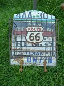 Metal Number Plates Design Route 66 Wall Hanging Wire Basket 2 Hooks H42cms