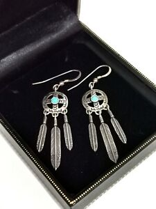 Vintage Navajo Sterling Silver Turquoise Shield Feather Earrings Native American