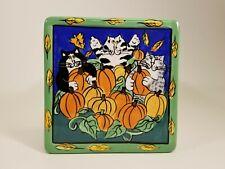 "Candace Reiter Catzilla 6"" Square Ceramic Trivet Tile 2002 Fall Pumpkins"