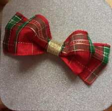 Red tartan, hair bow, hair accessories, red and gold gilrs party bow