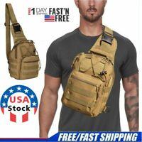 Men Tactical Sling Backpack Molle Chest Pack Shoulder Bag Outdoor Hiking Travel