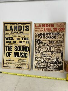 (2) ORIGINAL Vineland  THEATRE LANDIS Advertisements Horror Dracula Frrankentin