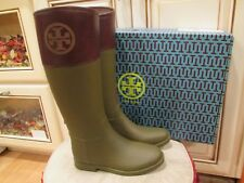 7f2286a7381f new TORY BURCH women s designer OLIVE ALMOND classic rain veg leather boots  ...