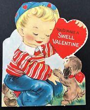 Hallmark Valentines Card Vtg 50s 60s Boy and his Dog Ephemera Greeting Sweet pup