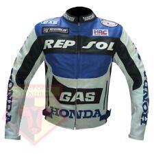 HONDA GAS REPSOL BLUE MOTORCYCLE MOTORBIKE COWHIDE LEATHER ARMOURED JACKET
