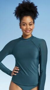 Women's Long Sleeve Mock Neck Rashguard - All in Motion Teal Small NWT